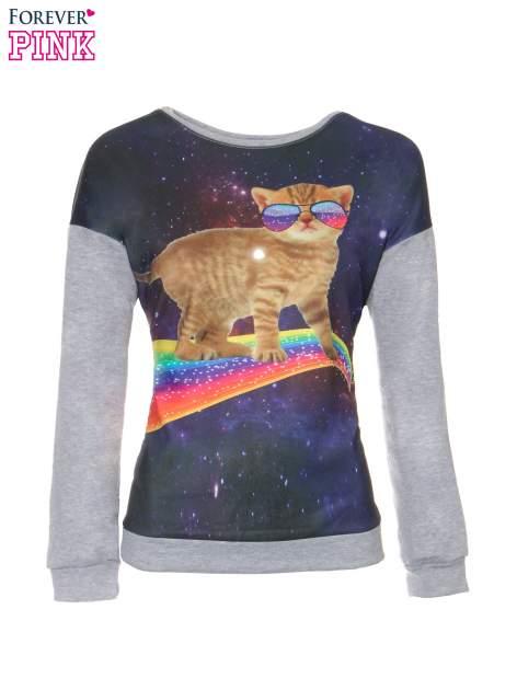 Szara dresowa bluza z nadrukiem kota z motywem galaxy                                  zdj.                                  5
