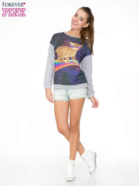 Szara dresowa bluza z nadrukiem kota z motywem galaxy                                  zdj.                                  2