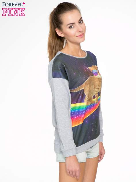 Szara dresowa bluza z nadrukiem kota z motywem galaxy                                  zdj.                                  3