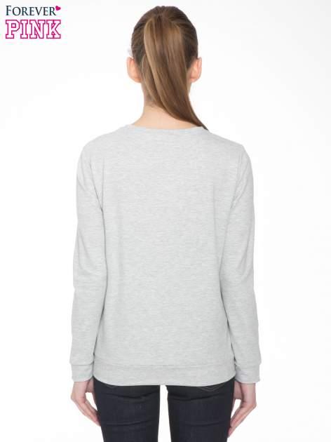 Szara dresowa bluza z nadrukiem królika                                  zdj.                                  4