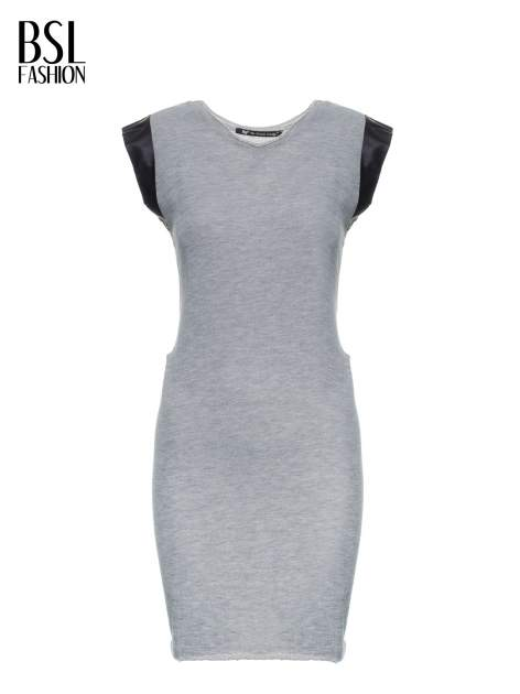 Szara dresowa sukienka ze wstawkami ze skóry przy rękawach                                  zdj.                                  5