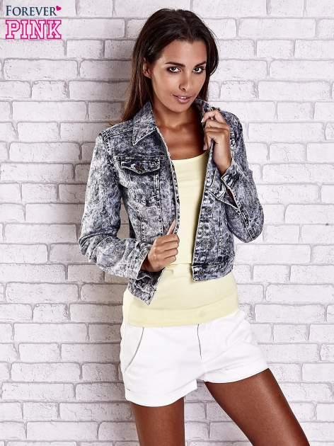 Szara jeansowa kurtka w tłoczone wzory                                  zdj.                                  3