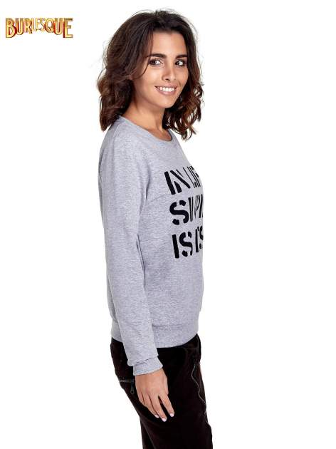 Szara klasyczna bluza damska z napisem IN LIFE SIMPLE IS BEST                                  zdj.                                  3