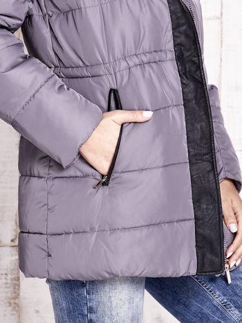 Szara kurtka puchowa ze skórzanymi wstawkami                                  zdj.                                  7