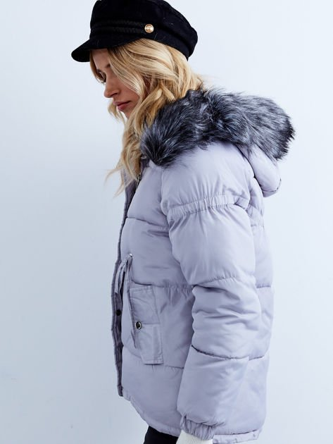 Szara kurtka zimowa pikowana                              zdj.                              5