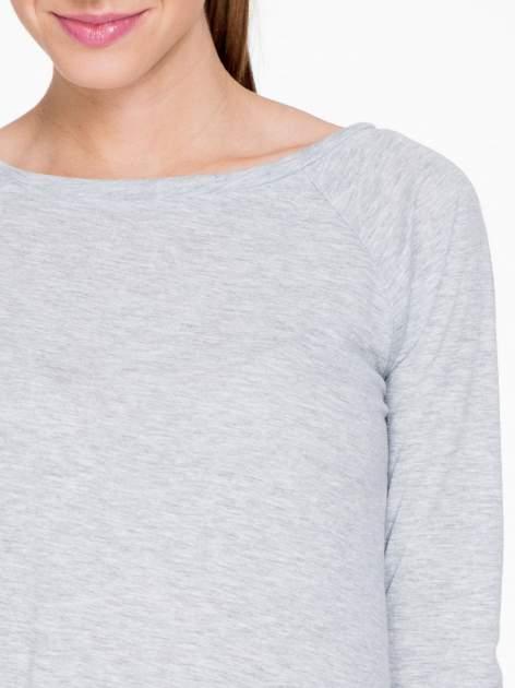 Szara melanżowa bawełniana bluzka z rękawami typu reglan                                  zdj.                                  5