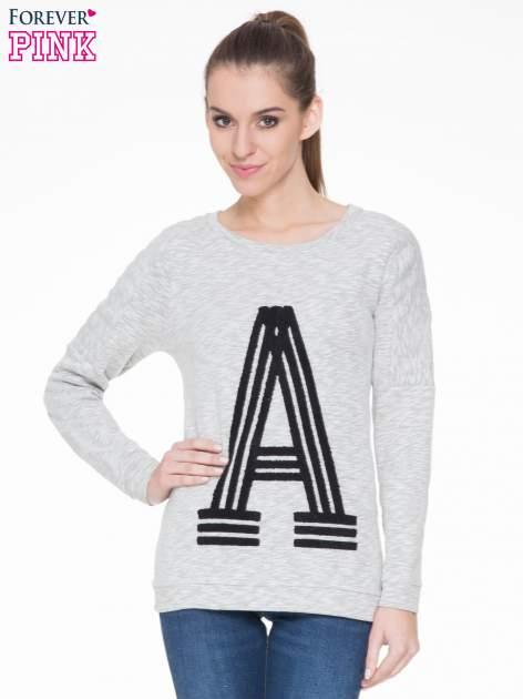 Szara melanżowa bluza z nadrukiem litery A                                  zdj.                                  1
