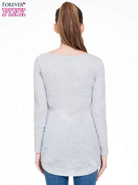 Szara melanżowa bluzka tunika z marszczonym dołem                                  zdj.                                  4