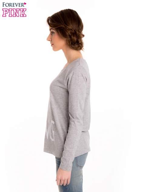 Szara melanżowa bluzka z nadrukiem AMAZING                                  zdj.                                  3