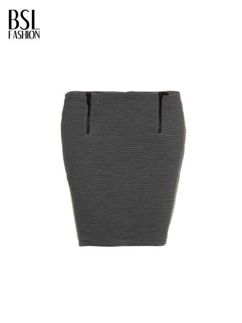 Szara prążkowana mini spódnica tuba z suwakami                                  zdj.                                  2