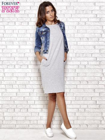 Szara prosta sukienka dresowa                                  zdj.                                  2