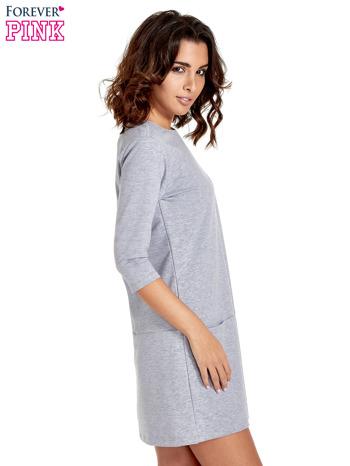 Szara prosta sukienka z kieszeniami                                   zdj.                                  3