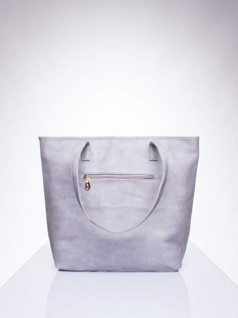 Szara prosta torba shopper bag ze złotymi okuciami                                  zdj.                                  3