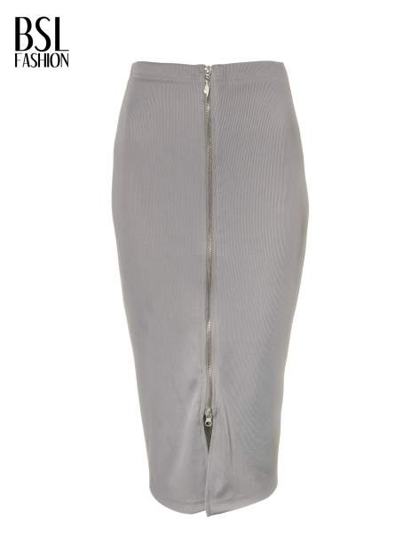Szara spódnica midi z suwakiem z przodu                                  zdj.                                  2
