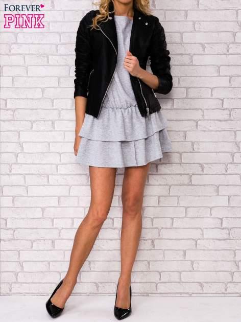 Szara sukienka dresowa z podwójną falbaną                                  zdj.                                  2