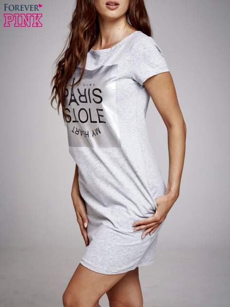 Szara sukienka dresowa ze srebrnym printem PARIS                                  zdj.                                  3