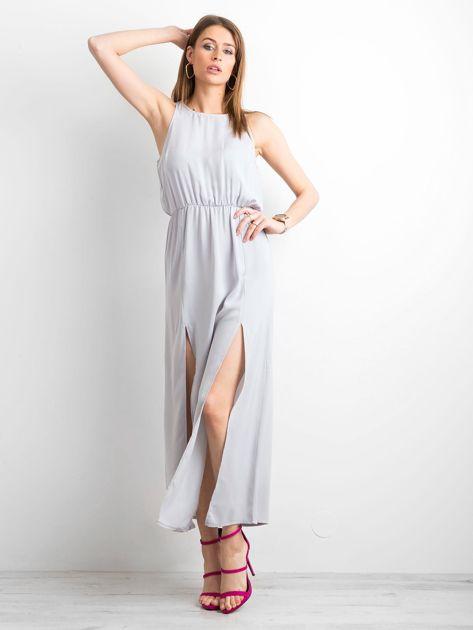 Szara sukienka maxi z rozcięciami                              zdj.                              1