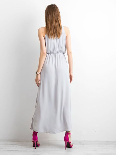 Szara sukienka maxi z rozcięciami                              zdj.                              2