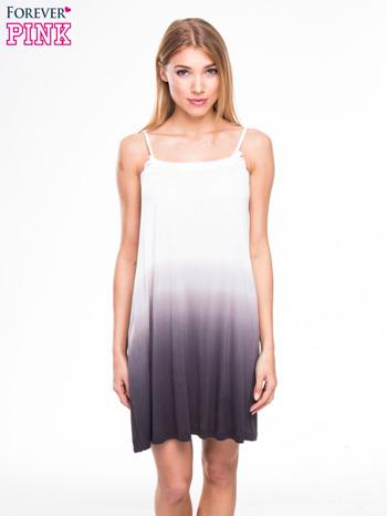 Szara sukienka na ramiączka z efektem ombre