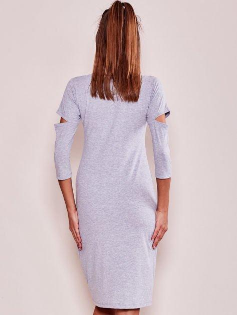 Szara sukienka z wycięciami cut out                               zdj.                              2