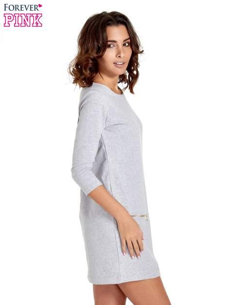 Szara sukienka ze złotymi suwakami                                  zdj.                                  3