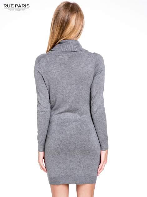 Szara swetrowa sukienka z golfem                                  zdj.                                  6