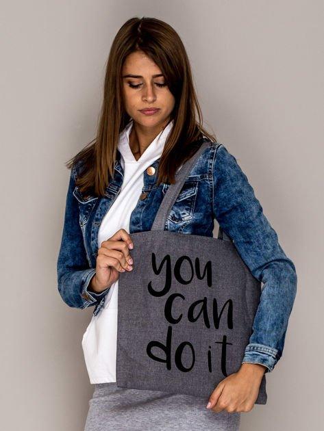 Szara torba materiałowa YOU CAN DO IT                                  zdj.                                  1