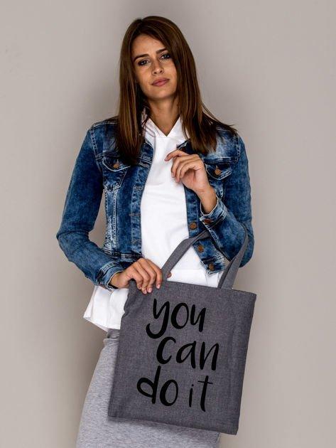Szara torba materiałowa YOU CAN DO IT                                  zdj.                                  3