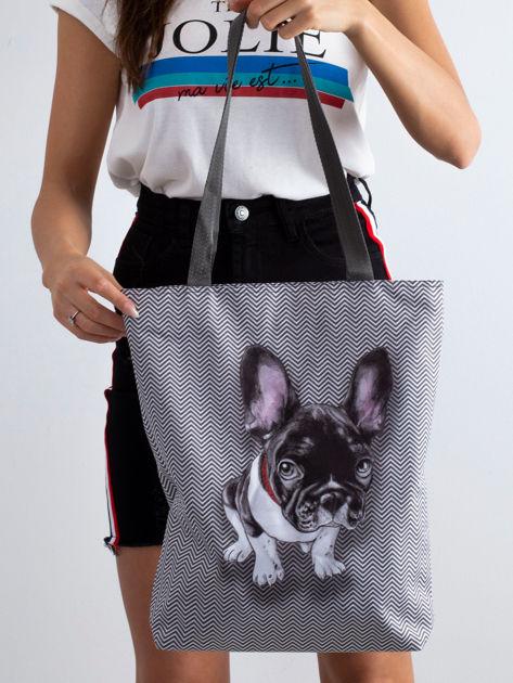 Szara torba materiałowa z psem                              zdj.                              3
