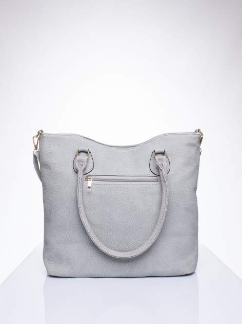 Szara torba shopper bag ze złotymi okuciami przy rączkach                                  zdj.                                  3