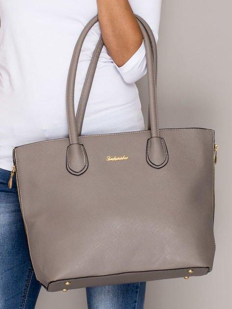 Szara torba shopper bag ze złotymi suwakami                                  zdj.                                  3
