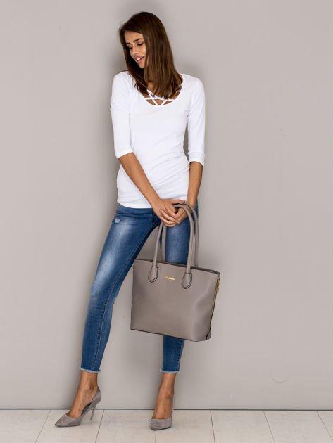 Szara torba shopper bag ze złotymi suwakami                              zdj.                              4
