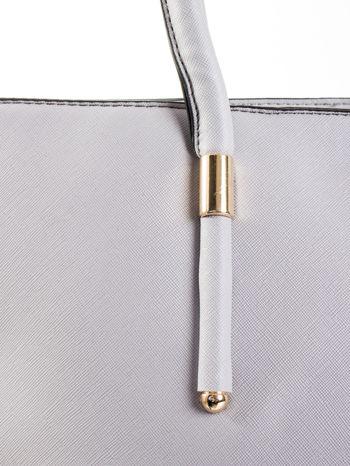 Szara torba shopper efekt saffiano                                  zdj.                                  7