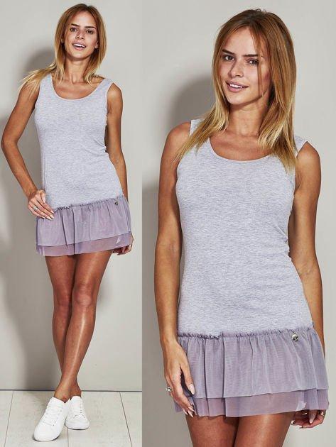 Szara sukienka z tiulową falbaną                                  zdj.                                  1