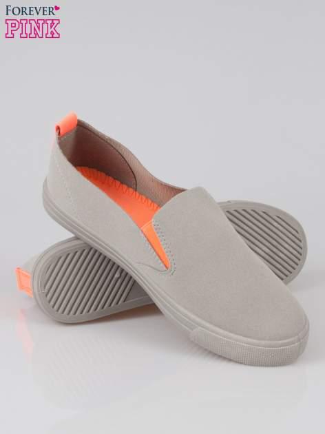 Szare buty slip on z fluo gumką                                  zdj.                                  4