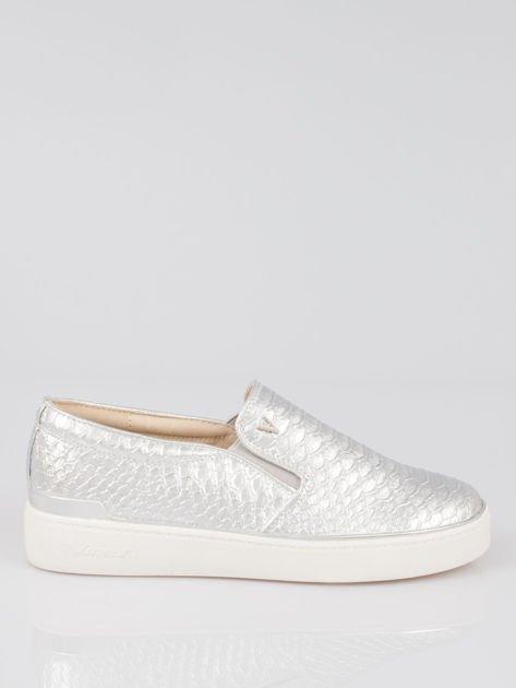 Szare buty sliponki glitter