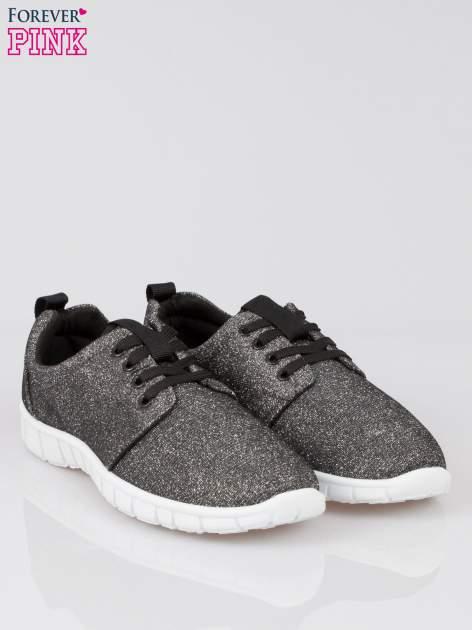 Szare buty sportowe textile Diamonds z metaliczną nitką                                  zdj.                                  2