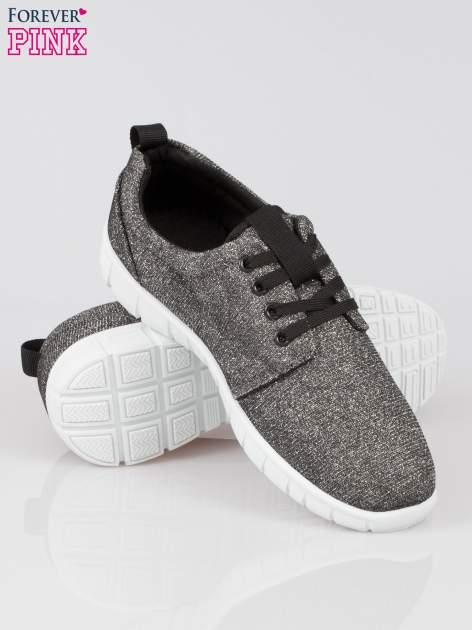 Szare buty sportowe textile Diamonds z metaliczną nitką                                  zdj.                                  4