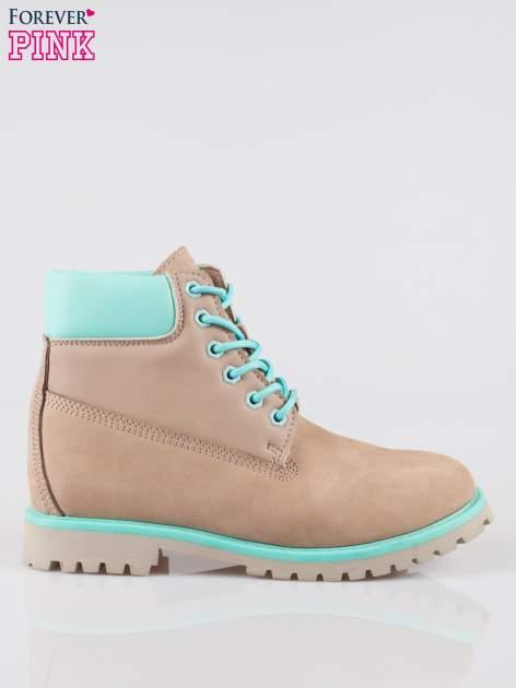Szare buty trekkingowe traperki damskie ze skóry naturalnej