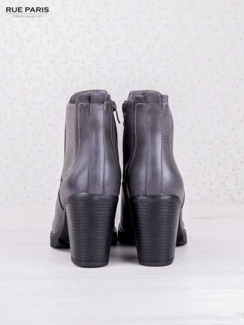 Szare cieniowane botki faux leather z gumkowaną wstawką na słupku                                  zdj.                                  4