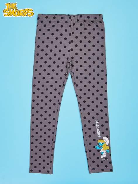 Szare legginsy w groszki dla dziewczynki SMERFY
