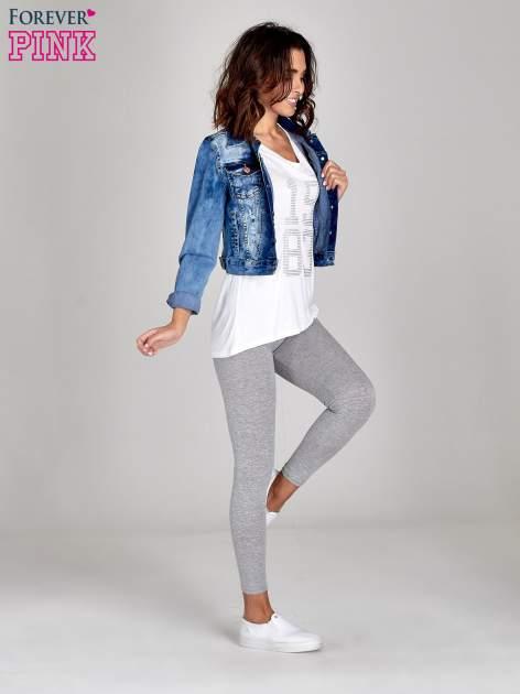 Szare melanżowe legginsy damskie basic                                  zdj.                                  2