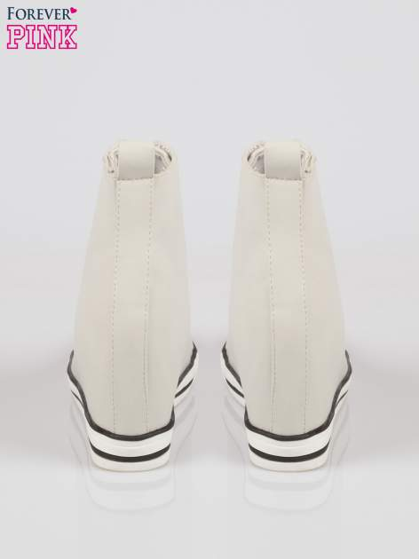 Szare skórzane sneakersy damskie                                  zdj.                                  3