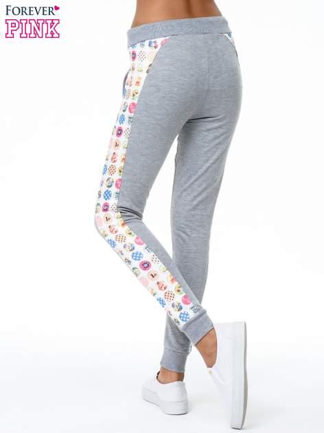 Szare spodnie dresowe z kolorowym lampasem                                  zdj.                                  6