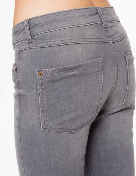 Szare spodnie jeansowe rurki z lekkim cieniowaniem                                  zdj.                                  6