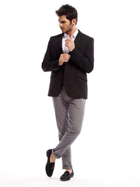 Szare spodnie męskie chinosy o prostym kroju                                  zdj.                                  6