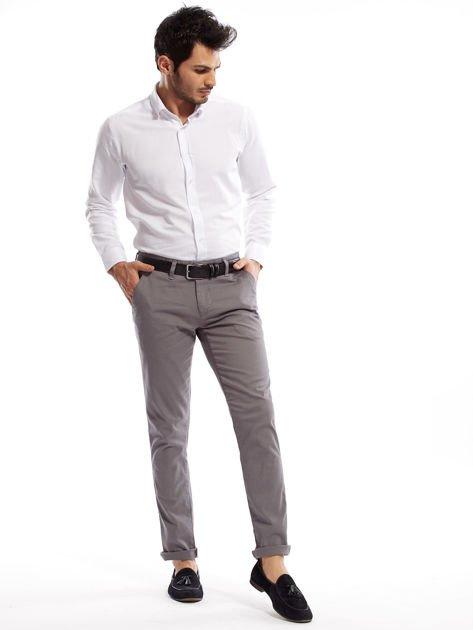 Szare spodnie męskie chinosy o prostym kroju                                  zdj.                                  8