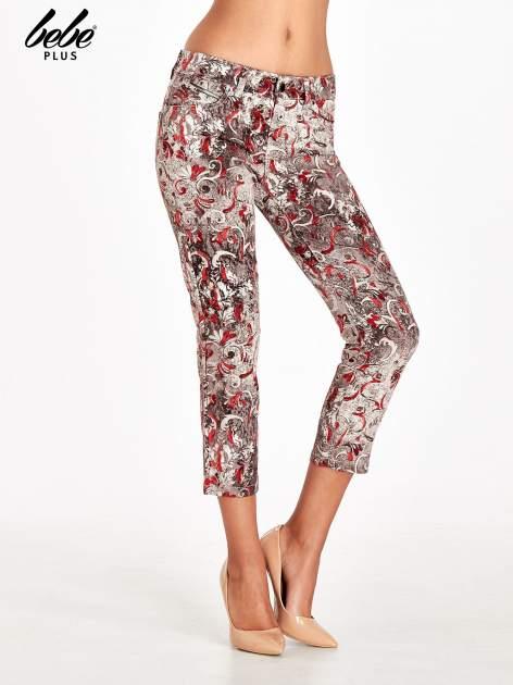 Szare spodnie skinny w kwiaty                                  zdj.                                  1