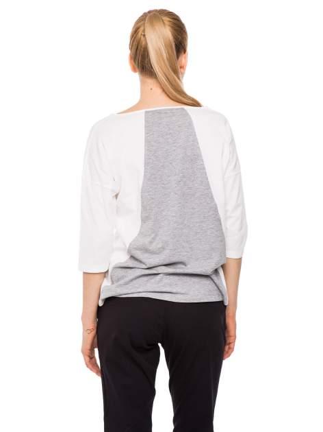 Szaro-biała bluzka modułowa z rękawem 3/4                                  zdj.                                  5