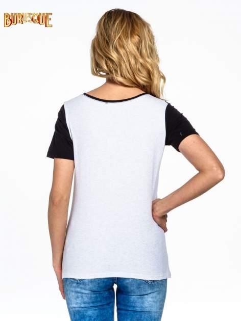 Szaro-czarny t-shirt z napisem DREAMY VIBES 86 PARIS                                  zdj.                                  5